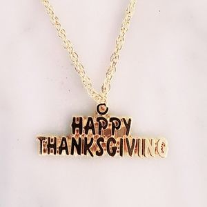 Jewelry - #1255 Gold p 925 Happy Thanksgiving Necklace